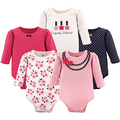 Little Treasure Unisex Baby Cotton Bodysuits, Perfectly Polished Long Sleeve 5 Pack, 9-12 Months (12M)