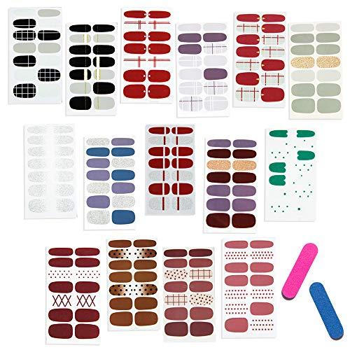 Anyasen Smalto Adesivo per Unghie 15 Fogli Smalto Adesivo Adesivi Unghie Nail Art Copertura Completa Nail Stickers per Unghie Decalcomanie Autoadesivi Unghie Copertura per Decorazioni Unghie Fai da Te