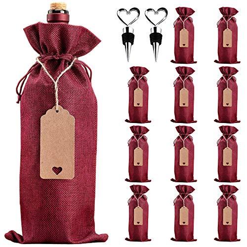 LZYMSZ 12 Bolsas de Arpillera para vino, Bolsas de Regalo Reutilizables para Botellas de vino con Etiquetas, Cuerdas y Tapones Botellas para Regalo, Boda