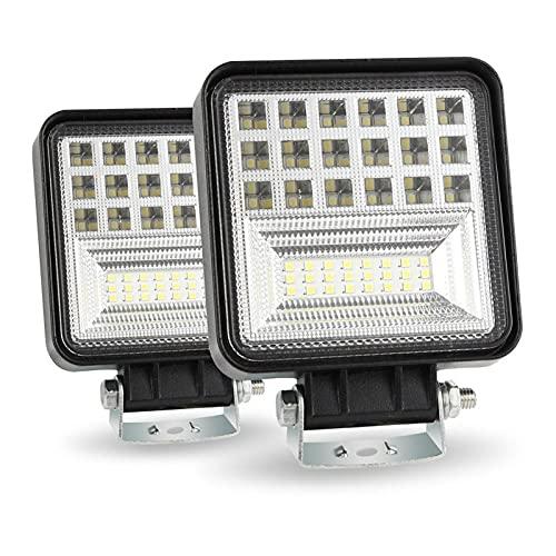 Faroles 400W 6000K 4 LED TRABAJO LIGHT BAR BARQUIDAD SPOT SPOT STEP OFFROAD Coche de la luz del día Lámpara de haz de alta luz Cross-Country para SUV Conducción Niebla Bulbo ( Color : 2PCS )