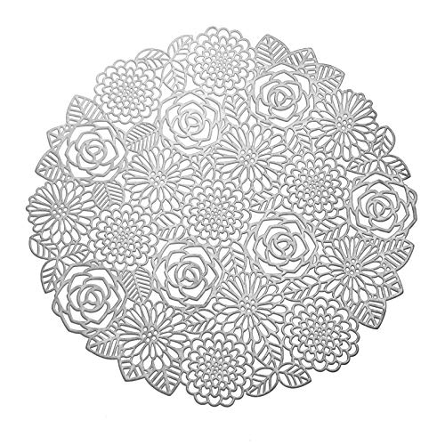 MLADEN Table Placemats Set of 4 Flower Placement Mats Round Washable Place Mats for Wedding Dining Table Silver