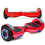 CHO POWER SPORTS Electric Hoverboard for Kids Adults Safety Certified Hover Board Electric Self Balancing Scooter Board with Built-in Bluetooth Speaker LED Lights Wheels (-Shiny Crimson)