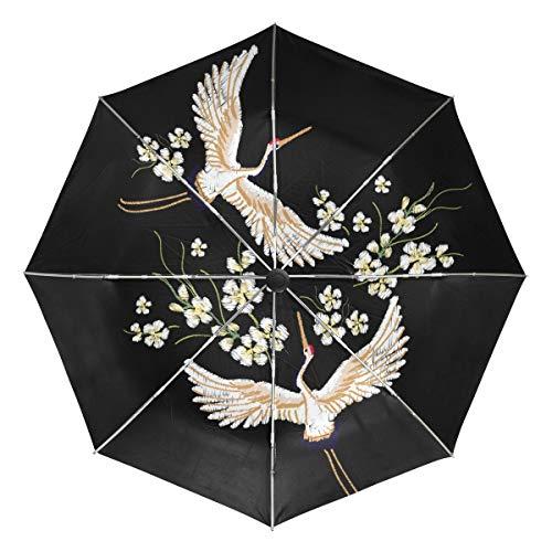 Crane Flower Kompakter Reiseschirm, Outdoor Regen Sonne Auto Faltbar Wendbare Regenschirme für Winddicht, Verstärktes Baldachin, UV-Schutz, Ergonomischer Griff, Automatisches Öffnen/Schließen