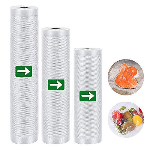 laxikoo Vakuumrollen, 3 Folienrollen Vakuumierfolie für alle Vakuumierer und für Sous Vide geeignet, Profi Folienrollen Mit Geprägte Struktur, BPA frei Lebensmittelecht 28x300/25x300/20x300cm Mehrweg