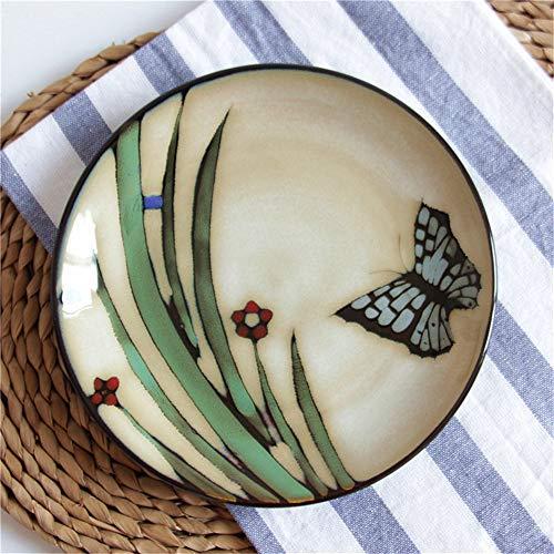 YUWANW Estadounidense vajilla de cerámica Flor de Amor Japonesa Horno de la Mariposa del Esmalte vidriado Plato de Comida Occidental Placa Plato sopero