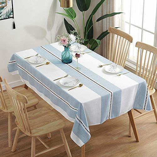Kuingbhn Manteles Mesa Antimanchas Piezas de Colore Algodón y Lino Nórdico Moderno para Cocina Comedor Blanco Azul 110 × 170cm