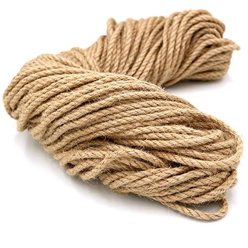 KINGLAKE Cuerda de yute de 5 mm de grosor, 50 m, cuerda de cáñamo de 3 capas, cuerda de yute para jardín, para manualidades, envolver, decoración, jardinería