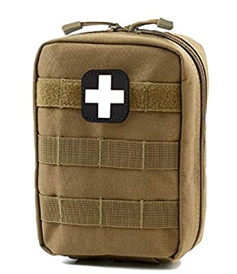 Tactical MOLLE EMT IFAK Pouch, Camping Medical First Aid Kit Utility Pouch (Brown)