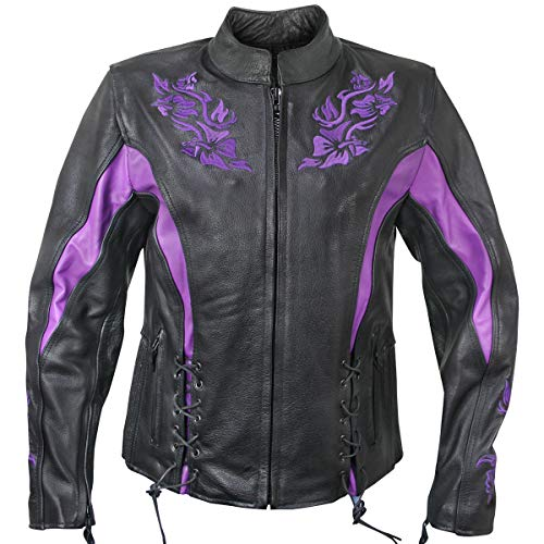 Xelement XS2027 'Gemma' Women's Black and Purple Leather Embroidered Jacket with Armor - Large