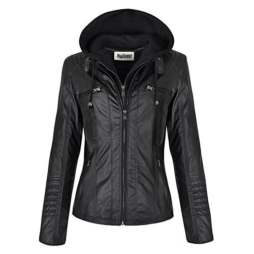 Pop lover Women's Hooded Faux Leather Motorcyle Jacket Detachable Full Zipper Outerwear Black XL