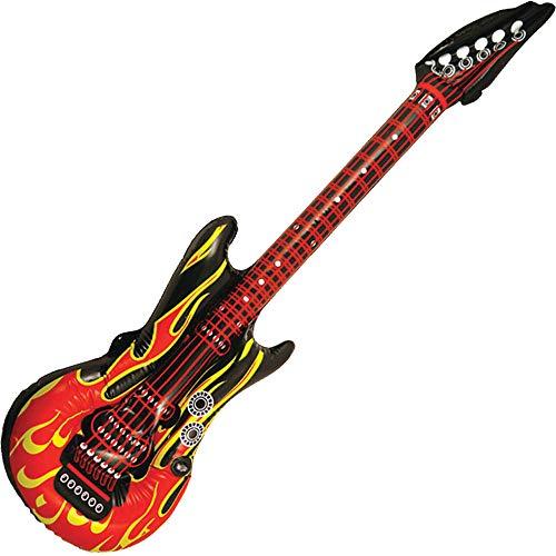 German Trendseller® Luftgitarre - Flammen - Design - Premium ┃ Rockstar ┃ Fasching - Karneval - ┃ Premium - Feuer Party - Gitarre