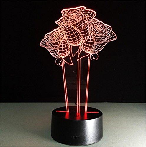 Veilleuses Illusions Optiques Roses Lampe de bureau 3d 7 couleurs Changement tactile interrupteur à distance Tableau de commande LED Night Light Lighting Décoration Accessoires pour la maison