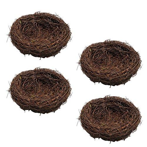 B Blesiya 4X 10cm Wild Grass Nest Vogelnest Handgemachte Rebe Natur Für Süßigkeiten Eier