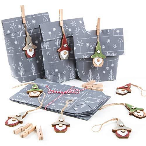 Logbuch-Verlag 9 Geschenkverpackungen grau weiß f. Weihnachten mit Wichtelanhänger aus Holz - Wichtelgeschenk Weihnachtsgeschenk