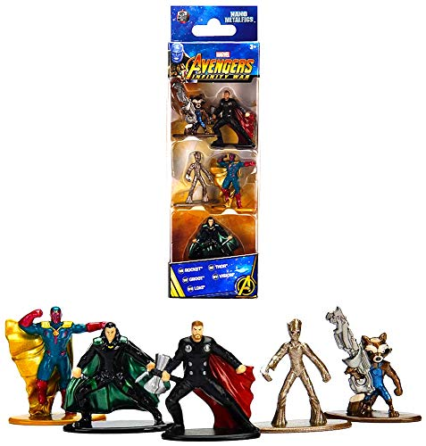 Jazwares Nano METALFIGS-Marvel Avengers Infinity War-Pack 5 Figuren à 4 cm (Thor, Rocket, Teenage Groot, Loki, Vision), 99920