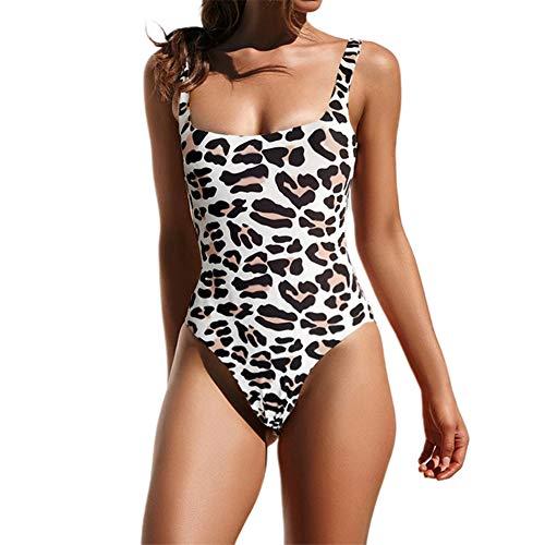 NMQLX Damen Badeanzug, 1 Stück, Schlange Leopard Push Up Hohe Taille Bikini Bandeau Mädchen Gr. 36, Schwarz