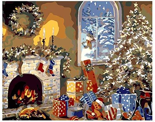 HAO Box DIY digitales Ölgemälde nach Zahlen Leinwand Bilder Weihnachten Weihnachtsfeier Innenwand Inneneinrichtung Einweihungsparty Geschenk 40x50cm Rahmenlos
