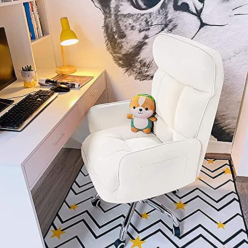 Cómoda silla ejecutiva para el hogar, silla de escritorio para salón, dormitorio, silla ergonómica de ordenador, altura ajustable, silla de juego con ruedas y reposabrazos Chayelu (color blanco arroz)