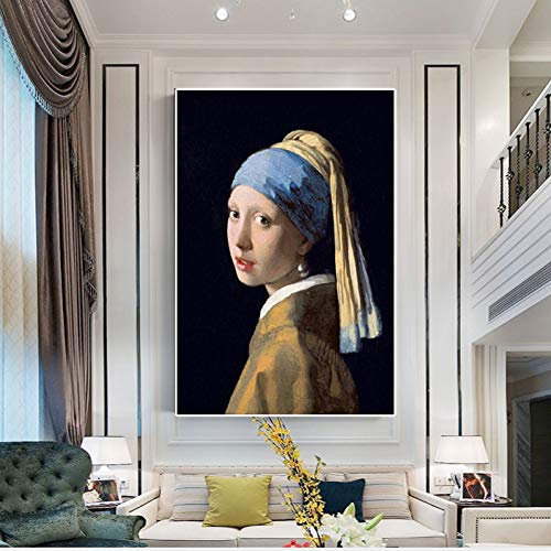 ZWBBO Canvas schilderij Decoratieve schilderijen Meisje met een parel oorbel reproductie olieverf poster prints beeldkunst voor woonkamer
