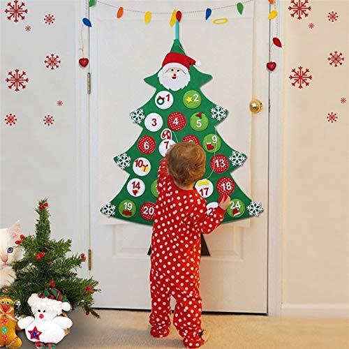 GSDJU Plüschtiere DIY Felt Weihnachtsbaum Stoff Adventskalender Countdown bis Weihnachten Adventskalender for Kinder Tür Wandbehang Decorat