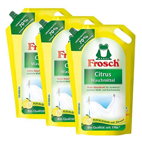 Preisvergleich Produktbild 3x Frosch Citrus Waschmittel 1, 8 Liter - Flecklösend mit Zitrone