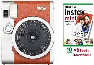 Instant Camera instax Mini 90 neo Classic Brown & Film 50 Sheets Set