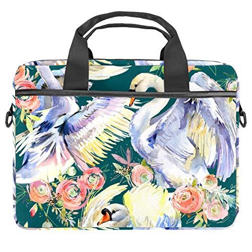 Laptop Shoulder Bag 15 Inch Briefcase Document Messenger Bag Business Handbag with Handle & Shoulder Strap Swans and Roses Romantic