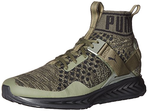 PUMA Men's Ignite Evoknit Cross-Trainer Shoe Burnt Olive/Forest Night Black, 9.5 M US