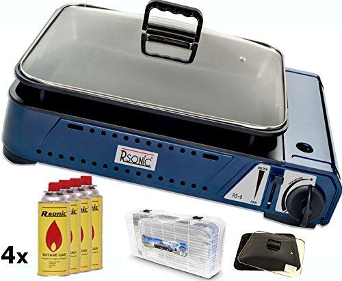 RSonic Deluxe tragbarer Gasgrill RS-8 mit Grillpfanne mit Glasdeckel 2,1 KW + 4X Gaskartuschen