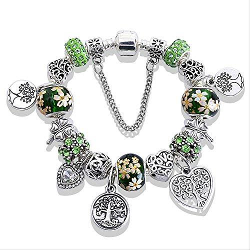 NOBRAND Pulseras Verdes del árbol de la Vida Brazaletes para Las Mujeres Charm Crystal Beads Bracelet Jewelry