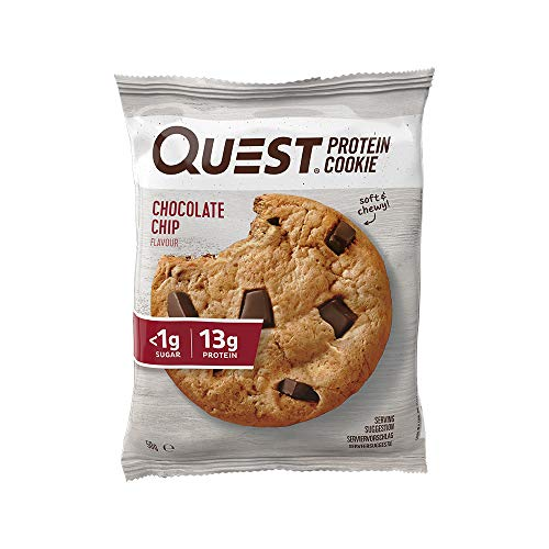 Quest Nutrition Chocolate Chip Protein Cookie, High Protein, Low Sugar, High Fibre, Keto Friendly, 12-Count