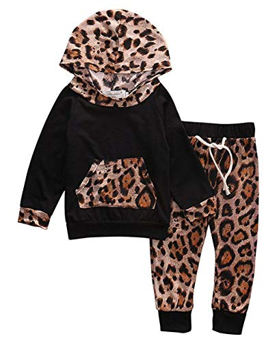 Kfnire T-Shirt Top + Pantaloni Completi per Bambina con Felpa Rosa Leopardata Neonata (3-6 Mesi, Nero)