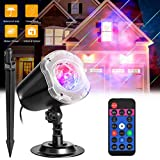 Ocean Wave Projector Lights Jhua Christmas LaserMeteor Shower ProjectorLight 2-1 RGBW 10 Colors Water Wave Night Light Waterproof Decorative LED Light with Remote Control for Halloween Wedding Party
