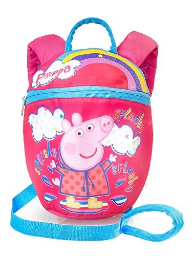 Peppa varken rugzak met teugels | Mini roze rugzak met afneembaar veiligheidsgordel | Kleine rugzak met teugelrug voor kleuterschool, kinderdagverblijf, kinderen, peuters, kindertas met leeuwen