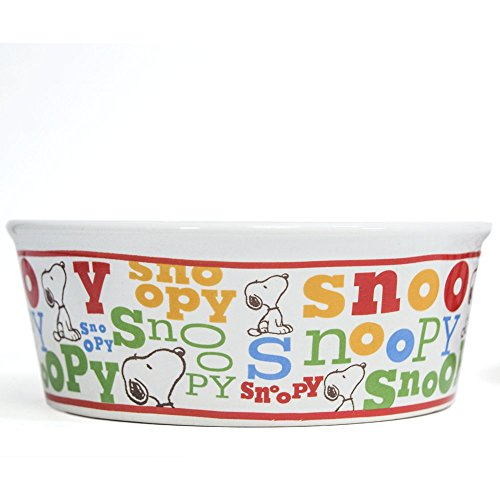 Peanuts Colorful Snoopy Dog Food Bowl - Heavy Stoneware Pet Dish (5' Wide)