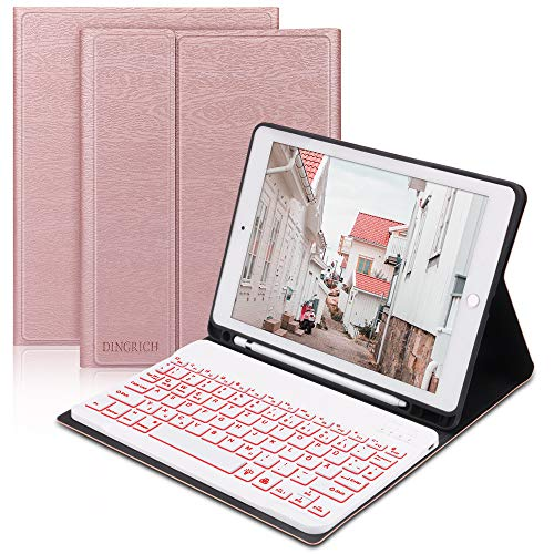 D DINGRICH Tastatur Hülle für iPad 8. Generation 2020 10.2 Zoll, iPad 7 Gen 2019, iPad Air 3 2019 10.5, Schützhülle mit Beleuchtete Wireless Tastatur [QWERTZ], Stifthalter, iPad Huelle mit Tastatur