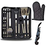 Barbecue Grill Tool Set, 22 Pcs Stainless Steel BBQ Accessories Outdoor Barbecue Grill Utensils Kit with Carrying Bag Barbecue Turners for Camping Outdoor Indoor