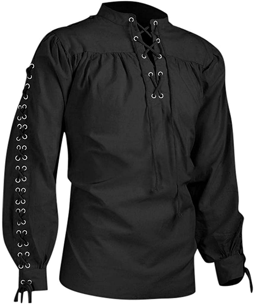 Mens Shirts Gothic, Men's Vintage Gothic Steampunk Sweatshirt Lace Up Bandage V Neck Long Sleeve Pullover Hooded Tops