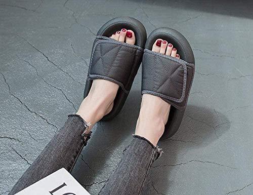 B/H Zapatos Transpirables para diabéticos,Zapatillas de Suela Blanda para Ancianos, Sandalias con Velcro Zapatillas-Gray_Men's 39