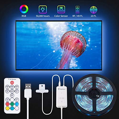 TV LED Backlight Color Sync to Screen, 10 Feet for 46 to 65 Inch TV LED Light Strip USB Operated, Color Changing 5050 Led Rope Lights 39 Modes with RF Remote Controller Color Sensor Dimmable