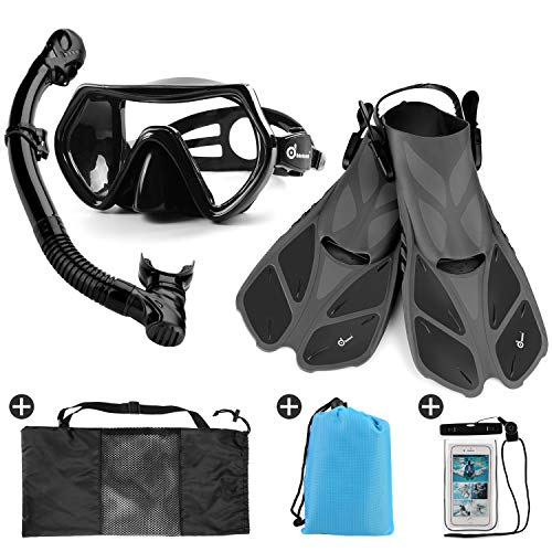 Odoland Snorkel Set 6-in-1 Snorkeling Packages with Diving Mask, Adjustable Swim Fins, Mesh Bag, Waterproof Case and Beach Blanket, Anti-Fog Anti-Leak Snorkeling Gear for Men Women Adult, Black M