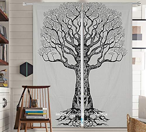 The Art Box Nature Tree of Life Bedroom Window Curtains Indian Drape Hanging Valances for Balcony Room Decor Curtain Boho Set Tapestry Curtains Drapes & Valances Bohemian (No: #CURN91_T)