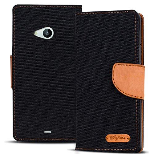 Conie Microsoft Lumia 535 Hülle für Lumia 535 Tasche, Textil Denim Jeans Look Booklet Cover Handytasche Klapphülle Etui mit Kartenfächer, Schwarz