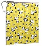 Snoopy Duschvorhang Atmungsaktiv & Wasserdicht Badezimmer Duschvorhang aus Polyester Zwei Haken zur Auswahl 60 x 72 Zoll Eisen