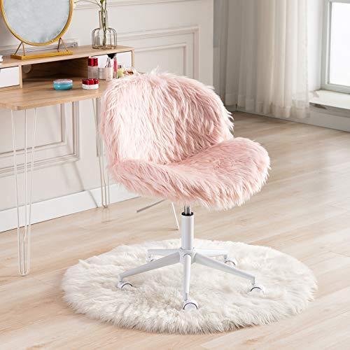 Wahson - Silla de oficina giratoria para el hogar, altura ajustable, de piel sintética, silla sin brazos, para dormitorio, color rosa