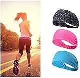 Volksladen Sport - Fascia per capelli da donna, fascia per il sudore, 3 pezzi, elastica, a...