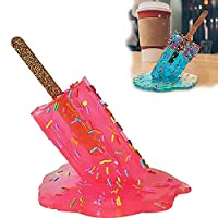 Melting Ice Cream Sculpture - Creative Melting Ice Cream Resin Ornaments, Summer Cool Lollipop Crafts, Popsicle Sculpture Art, Candy-Lovers Realistic Melting Popsicle Statues with Base (B)