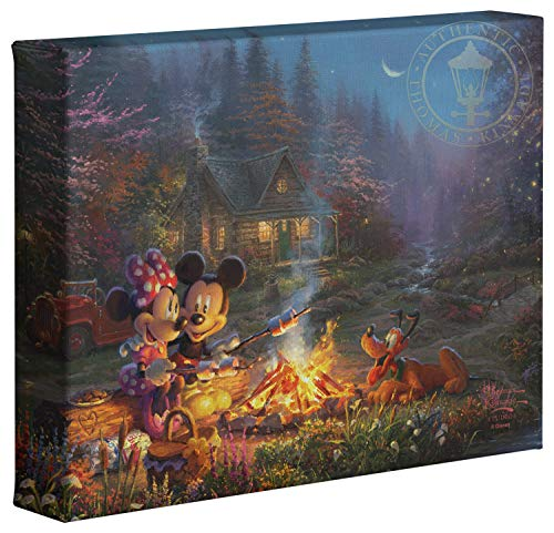 Thomas Kinkade Studios Disney Mickey and Minnie Sweetheart Campfire 8' x 10' Gallery Wrapped Canvas