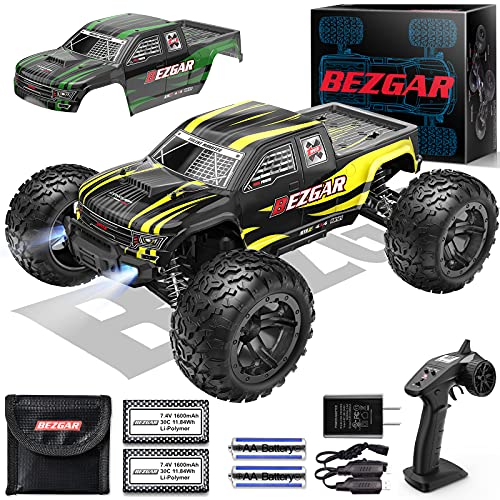 BEZGAR HM101 Hobby Grade 1:10 Scale Remote Control Truck with 550 Motor, 4WD Top Speed 42 Km h All Terrains Off Road Monster Truck ,Waterproof RC Car with 2 Rechargeable Batteries for Kids and Adults
