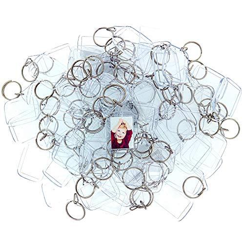 100 Llaveros con Marco para Fotos Acrílico Transparente por Kurtzy - Llavero en Blanco de 3,2 x 5,4 cm - Llavero Apto para Billetera para Insertar Fotos Personalizadas - Apto para Hombres y Mujeres